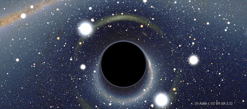 taiteilijan näkemys avaruuden mustasta aukosta