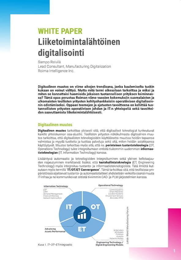ensimmäinen sivu Liiketoimintalähtöinen digitalisointi dokumenttia
